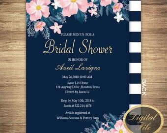 Bridal Shower invitation,wedding invitation,Bridal invitation,Floral Bridal Shower Card,Navy Blue,Floral invitation,Printable