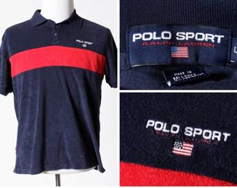 Men's Vintage Polo Sport Shirt Velour Terry Ralph Lauren - 90's Retro Large L