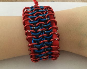 Adjustable Red &Blue Aluminium Chainmail Cuff with Ribbon Fastening