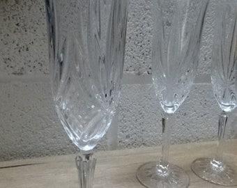 A Beautiful set of 5 Crystal Cut Glasses/Champagne Flute/Vintage/1970s