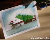 Dachshund Christmas Card // Carte de Noel Chien Saussice