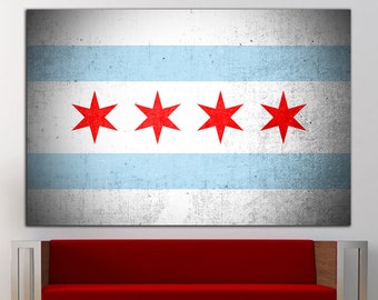 Chicago flag wall art Chicago flag wall decor Chicago flag canvas Chicago flag print decor office home decor