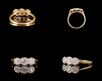 1900s Victorian 18ct Yellow Gold Platinum Diamond Trilogy Ring .15ct Old Cut & .2ct Old Brilliant Cut Diamonds SI1 Raised Tapered Shoulders