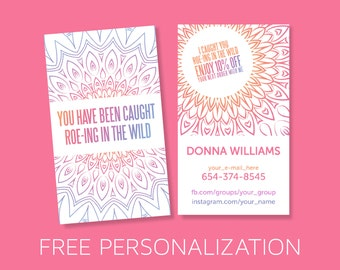 Roe-ing in the wild Business Card Vertical, Mandala Design, Boho , Approved Font & Color - Made to Order - DIY Print