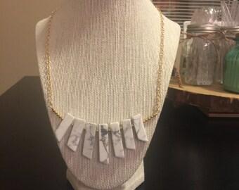 Howlite stick bib necklace/14k gold filled gemstone bib necklace/bib necklace/stone bib necklace