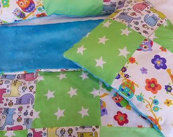 3 Piece reversible dolls bedding set cotton -owls-cats design in dimple fleece fabric on the back