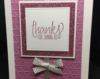 Thank You Card, Handmade Card, Thanks For Joining Us, Fancy Handmade Card, Glitter Paper, Stampin' Up! Designs