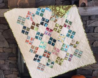 Modern Quilt, Modern Lap Quilt, Toddler Quilt, Modern Crib Quilt, Colorful Quilt, Bright, Amy Butler