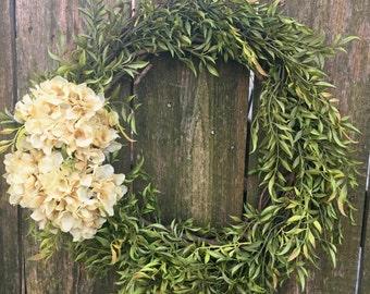 Front Door Wreath-Summer Wreath-Hydrangea Wreath-Everyday Wreath-Farmhouse Decor-Natural Floral Wreath-Summer Door Wreath-Greenery Wreath