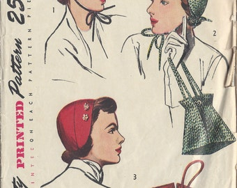 1949 Vintage Sewing Pattern One Size HATS & BAG (1127) Simplicity 2963