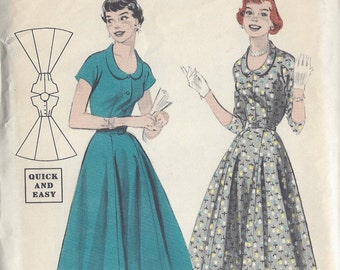"1950s Vintage Sewing Pattern B34"" DRESS (R181)  Butterick 7373"