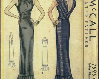 1939 Vintage Sewing Pattern B32 EVENING DRESS (R956) McCall 7595