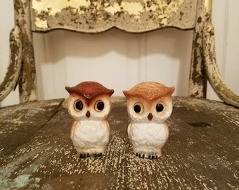 Vintage Owl Salt and Pepper Shakers, Salt and Pepper Shakers, Owl Ceramic Shakers, Ceramic owls, Vintage Ceramic Owls