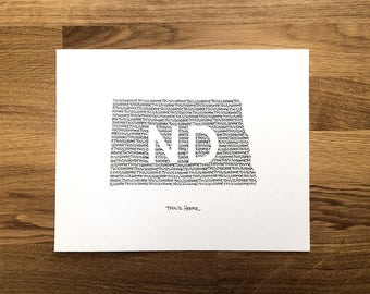 North Dakota Print - 8x10, Hand Drawn, Art Print, Wall Art, Home State Decoration, Gift for Him, Gift for Her, State Pride, Word Art