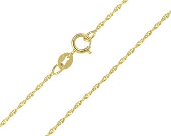 "14K Solid Yellow Gold Singapore Necklace Chain 1.1mm 16-24"" - Diamond Cut Link"