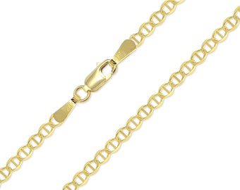 """10K Solid Yellow Gold Mariner Choker Necklace Chain 2.5mm 11-15"""" - Anchor Link"""