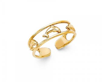 14K Solid Yellow Gold Dolphin Toe Ring Adjustable - Fish Polished Band