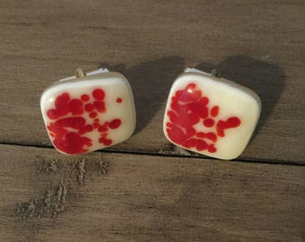 Reactive Cuff Links - Red and Vanilla Spot Cufflinks. Fathers Day, Birthday, Anniversary Gift. Unique Gift.