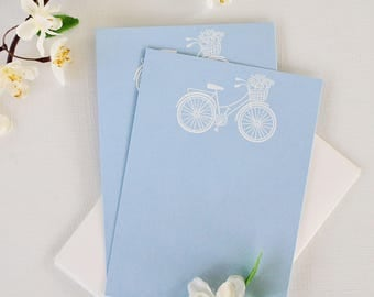 Embossed Note Cards, Flat Note Cards, Stationery Set, Bicycle