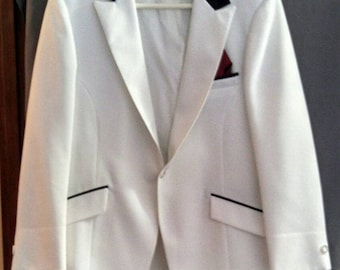 After Six Formals black and white 70s Prom Disco poly vintage tuxedo suit jacket