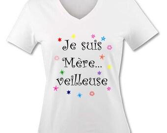 T-shirt V-neck woman - I am mother... back burner - humor for Super MOM