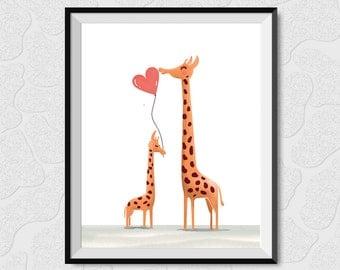 Giraffe Mom and Baby, Nursery Art, Baby Animals,Nursery Decor, happy mother's day, i love you mom, gift idea for mom, giraffe art print, mom