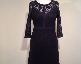 Woman black lace party dress