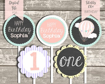 Hot Air Balloon Printable Cupcake Toppers|Chalkboard Shabby Chic Girl Birthday Party |1st Birthday Pretty Pastel Party|DIY Cupacake Toppers