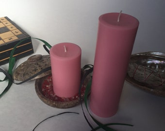 Pink Soy Wax Pillar Candles