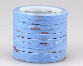 Washi tape blue with vintage style decoration 4 mm 10 m (Number 16)