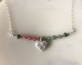 Sweet ruby, emerald & blue sapphire necklace with a Hill Tribe heart charm