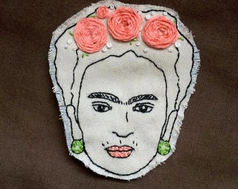 Frida Kahlo Pin or Patch- Hand Embroidered