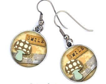 Scrapbooking, resin, surgical steel hooks, ref.248 cabochon earrings