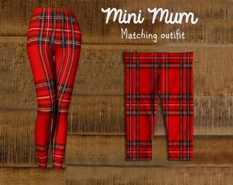 10 dollars off! Mini Mum matching Christmas leggings,Red Tartan leggings, Matching Christmas outfit,  Mom and child matching outfit