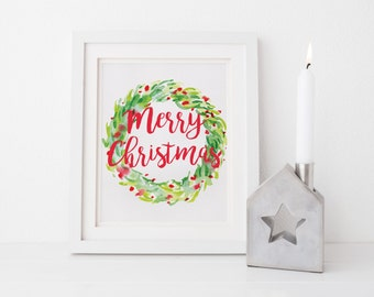 Merry Christmas Holiday Watercolor Christmas Holiday Wreath Print