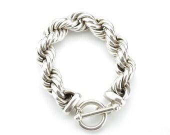 Vintage Sterling Silver Extra Large Rope Bracelet