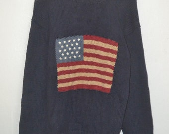 vintage 90s POLO ralph lauren USA flag hand knitjumper sweatshirt summer