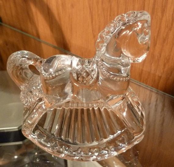 Vintage Crystal Rocking Horse//like Princess House???//newborn decor//nursery decor//glass rocking horse figurine//Vintage carousel//