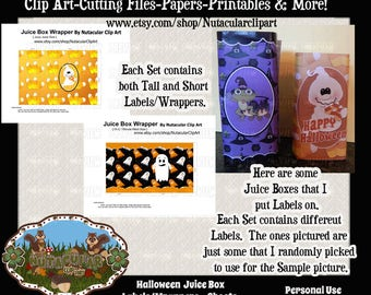 Juice Box Labels - Halloween Ghosts Juice Box Wrappers - Halloween Ghost Labels - Halloween Party Supplies