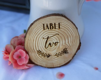 Wedding Table Numbers-  Wooden Table Numbers- Log Slice - Rustic Wedding Table Numbers- Wedding Table Names
