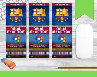 FC Barcelona Invitation, Barcelona Invitations, Soccer Invites, Birthday Tickets, Ticket, Baby Wedding Bridal Shower Retirement