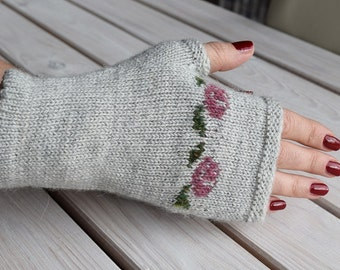 Womens fingerless gloves Knitted arm warmers Fair isle wrist warmers Knitted texting gloves Gift for her Romantic gift