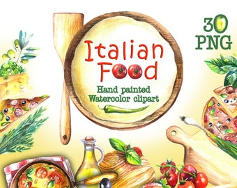 Pizza Watercolor ClipArt Handpainted food Illustration Food clipart Pizza png Pizza Menu Pizza Party Pizza illustration Pizza Restaurant