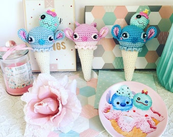 Ice cream Stich and Scrump or Angel from  Disney Lilo and stitch crochet amigurumi