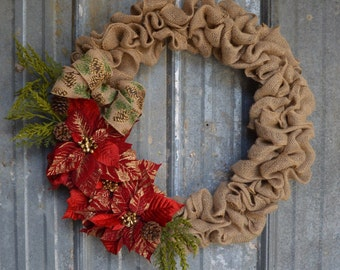 "24"" Traditional Burlap Christmas Wreath with Poinsettia Swag"