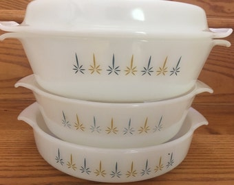 Three 1950s Vintage Anchor Hocking Fire King Mid Century Modern (MCM) Atomic Star Round Milk Glass Covered Casserole Dish & 2 round dishes