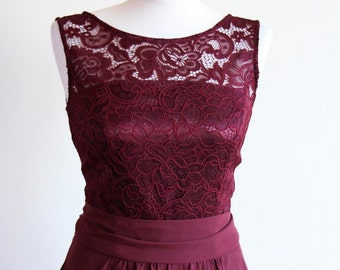 Short burgundy lace dress Short bridesmaid dress Short burgundy bridesmaid dress Burgundy dress Marsala bridesmaid
