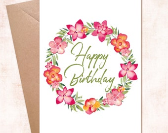 Printable Happy Birthday Flower Wreath Instant Download Card for Her