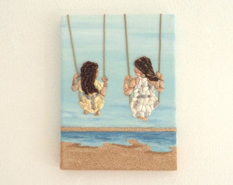 Two Girls on Swings in Seashell Mosaic