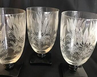 Set of three crystal water glasses